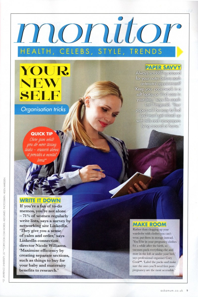 Preganancy & Birth Magazine - November 2012 page 9, Organising quote by Cory Cook